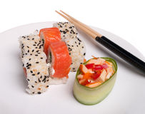 Plate of sushi. Asian lunch (plate of sushi isolated on the white background Stock Photos
