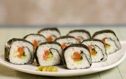 plate sushi Royaltyfri Foto