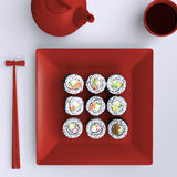 Plate with sushi, chopsticks and tea cup. View from above. Royalty Free Stock Photography