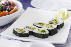 Plate with sushi rolls Royalty Free Stock Photos