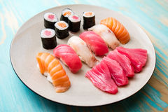 Plate of sushi and sashimi Royalty Free Stock Photography