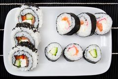 Plate with sushi set Royalty Free Stock Image