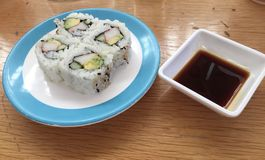 Sushi with soy sauce stock photography