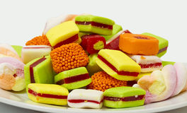 Plate of sweet candy stock photography