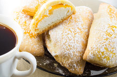 Plate with sweet pastries with sweet cheese and powdered sugar Stock Images