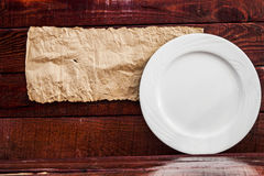 Plate on table background Royalty Free Stock Images