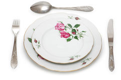 Plate and table utensils Stock Photos