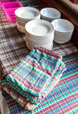 Plate and tablecloth Stock Photography