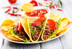 Plate with taco. Nachos chips and tomato dip Royalty Free Stock Photo