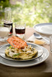 Plate of tagliatelle with alfredo sauce stock image