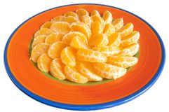 Plate of tangerines Stock Images