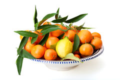 Plate With Tangerines And Lemon Stock Photo