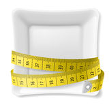 Plate and  tape measure Stock Photos