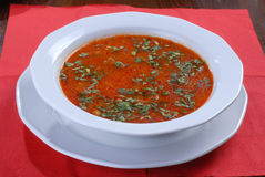 Plate of tasty appetizing russian borsch Stock Image