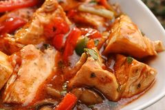 Plate with tasty chicken cacciatore Royalty Free Stock Photos