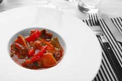 Plate with tasty chicken cacciatore Stock Photo