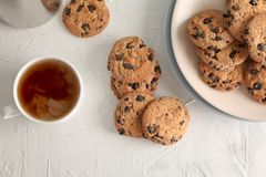 Plate with tasty chocolate chip cookies and cup of coffee on gray background stock image