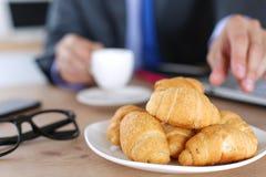 Plate with tasty fresh croissants Stock Photos
