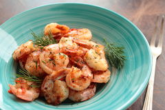 Plate with tasty grilled shrimps Stock Photos