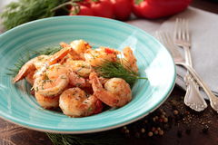 Plate with tasty grilled shrimps Royalty Free Stock Image