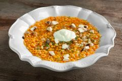 Plate with tasty lentil soup Royalty Free Stock Photography