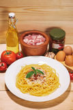 Plate of tasty spaghetti with tomato sauce and meat on wooden ta Royalty Free Stock Photo
