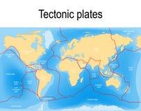 Plate tectonics map. Major an minor plates. Vector illustration Royalty Free Stock Photo