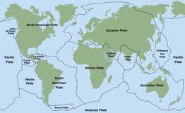 Plate Tectonics. World map with major an minor plates. Vector illustration royalty free illustration