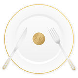 Plate and ten euro cent. Dish with cutlery and 10 euro cent coin Royalty Free Stock Images
