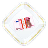 Plate and ten euro pack Royalty Free Stock Photography
