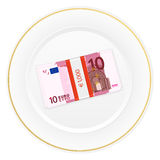 Plate and ten euro pack Stock Image