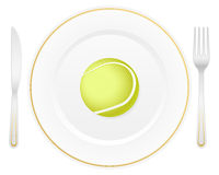 Plate and tennis ball Stock Images