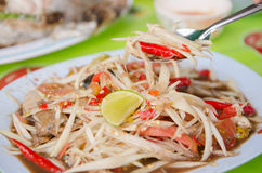 Plate of Thai papaya salad also known as som tam. Plate of  spicy Thai papaya salad also known as som tam Stock Photography
