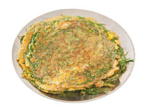 Plate of Thai style omelet with acacia herb Royalty Free Stock Photos