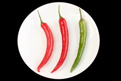 Plate with three chillies Royalty Free Stock Image