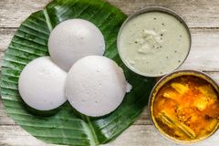 South Indian Food Idli Sambhar and Chutney. South Indian Food, Idli Sambhar, Chutney on banana leaf Royalty Free Stock Photography
