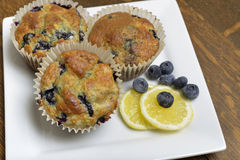 Plate of  three lemon blueberry muffins. Royalty Free Stock Image