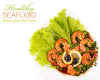 Plate with Tiger Prawns Stock Image