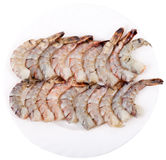 Plate with Tiger Prawns royalty free stock photos