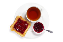 Plate with toast and tea Royalty Free Stock Photography