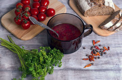 Plate of tomato beet soup Stock Image