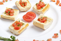 Plate of tomato bruschetta Royalty Free Stock Photos