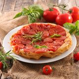 Tomato quiche tatin. Plate of tomato quiche tatin Stock Photos