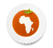 Plate tomato soup with cream in the shape of Afric Stock Images