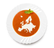 Plate tomato soup with cream in the shape of Europ Royalty Free Stock Image