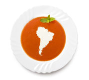 Plate tomato soup with cream in the shape of South America.(seri Stock Photography
