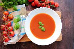 Plate with tomato soup Royalty Free Stock Photo