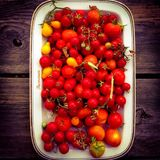 Plate of tomatoes. Plate full of small tomatoes Royalty Free Stock Image