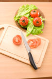 Plate with tomatos and lettuce Royalty Free Stock Images