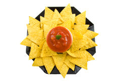 A plate with tortilla chips Stock Photo
